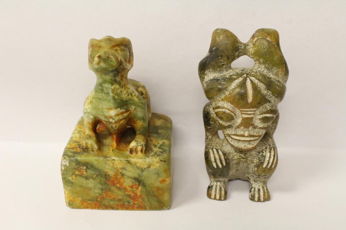 A jade seal and a jade figure