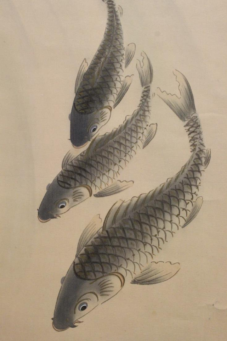 """Chinese watercolor scroll """"goldfish"""" - 8"""