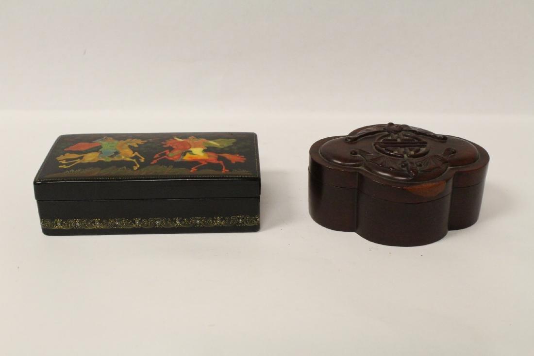 A Russian hand painted box & a Chinese rosewood box