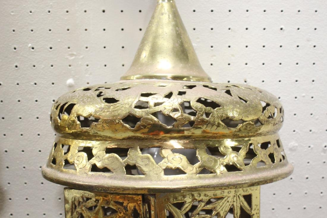 2 Chinese brass ceiling lamps - 10