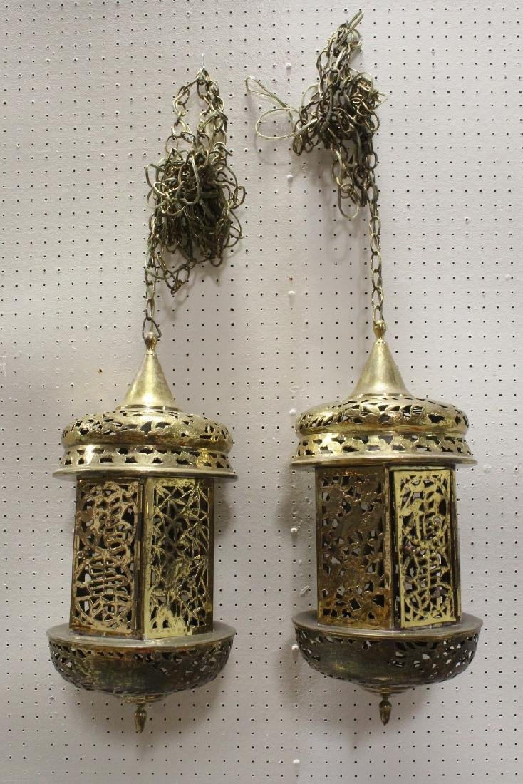 2 Chinese brass ceiling lamps