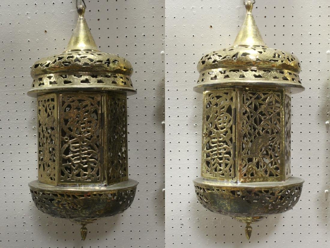 2 Chinese brass ceiling lamps - 3