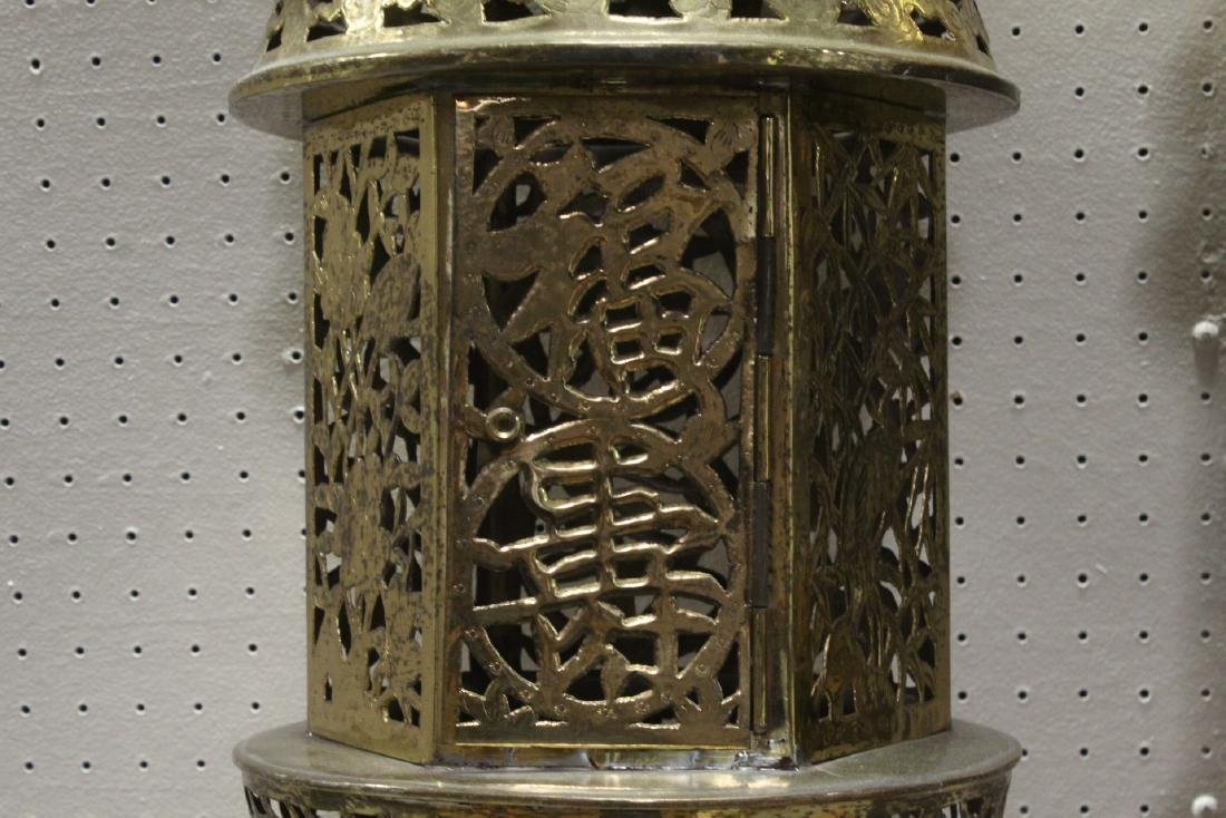 2 Chinese brass ceiling lamps - 4