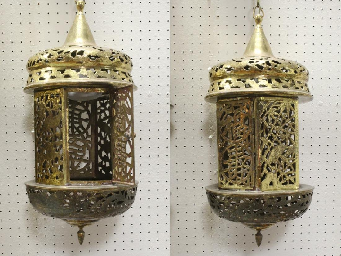 2 Chinese brass ceiling lamps - 7
