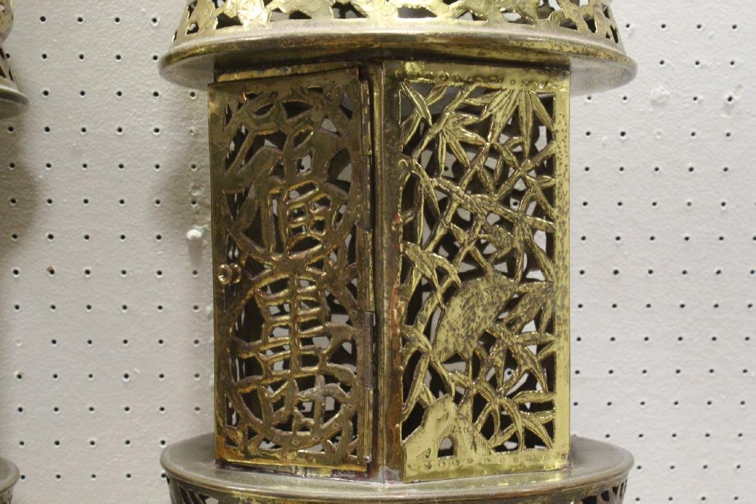 2 Chinese brass ceiling lamps - 8