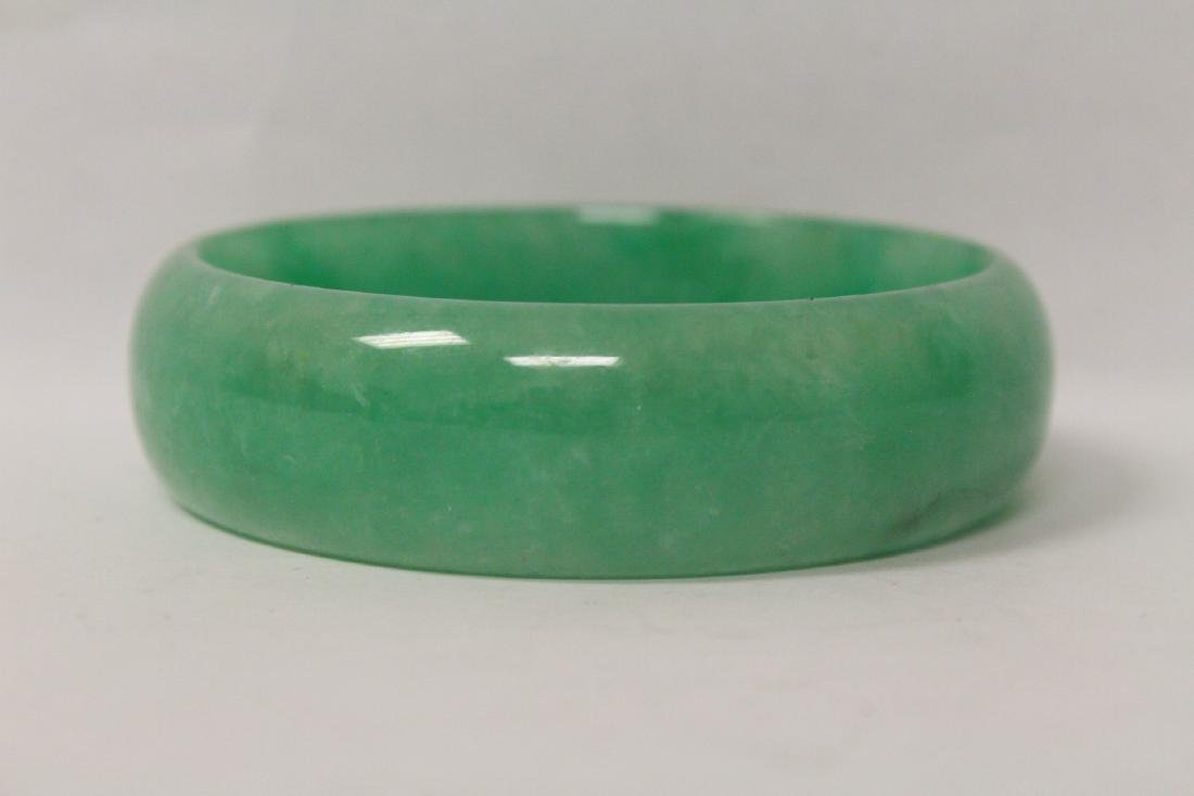 Jadeite like stone carved bangle bracelet