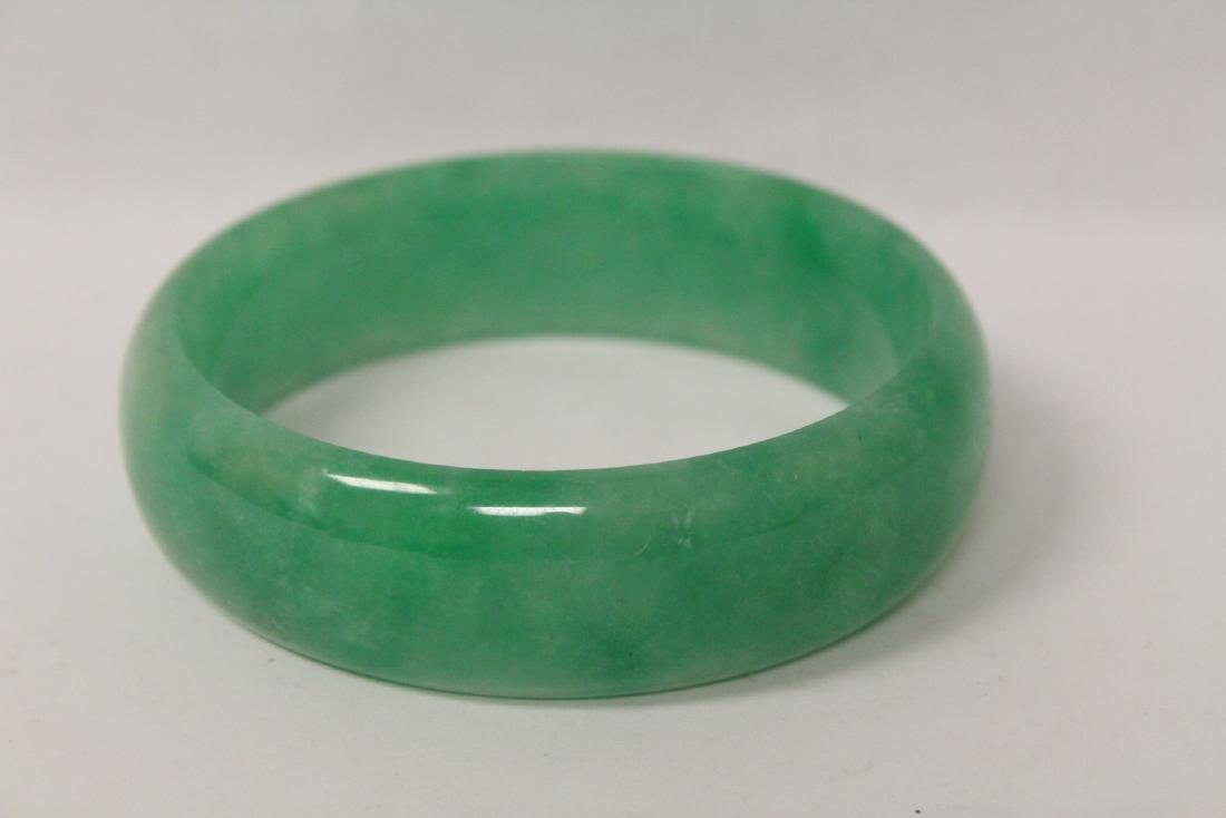 Jadeite like stone carved bangle bracelet - 2