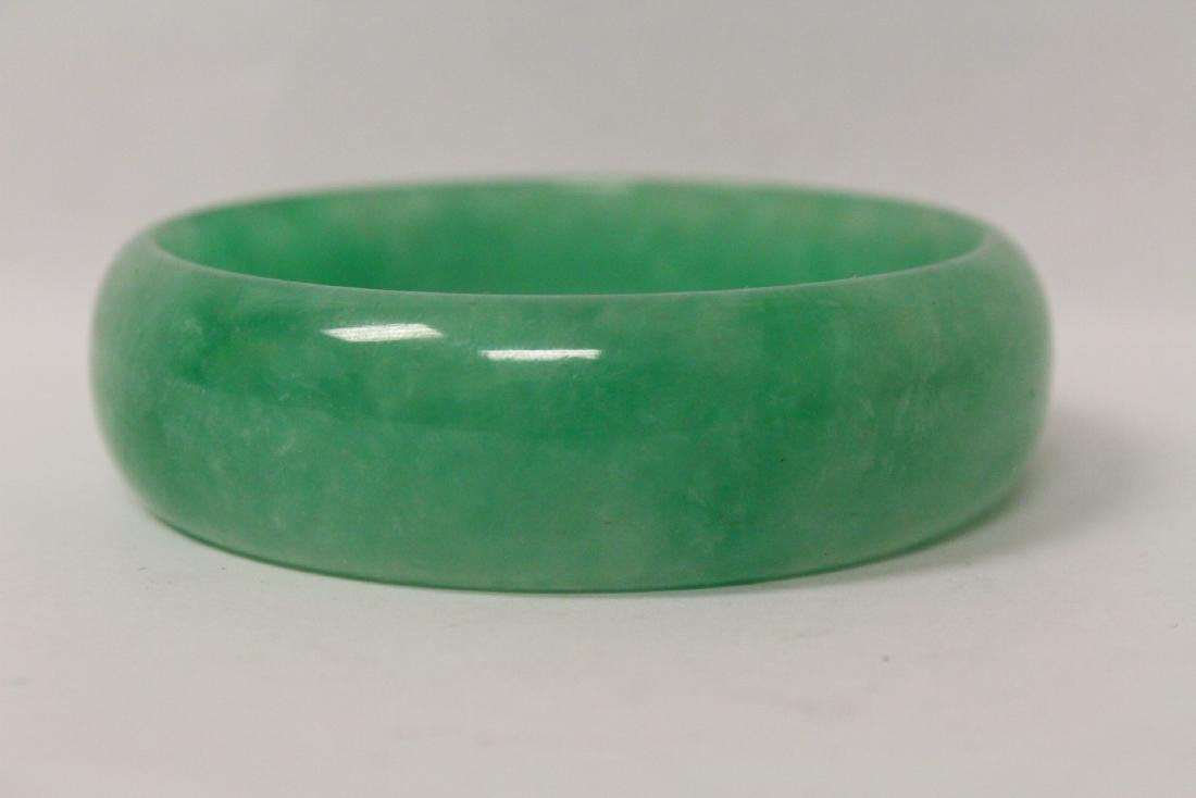 Jadeite like stone carved bangle bracelet - 3