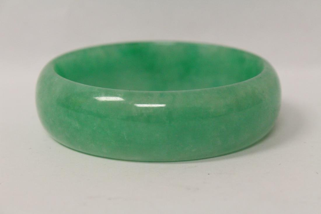 Jadeite like stone carved bangle bracelet - 4