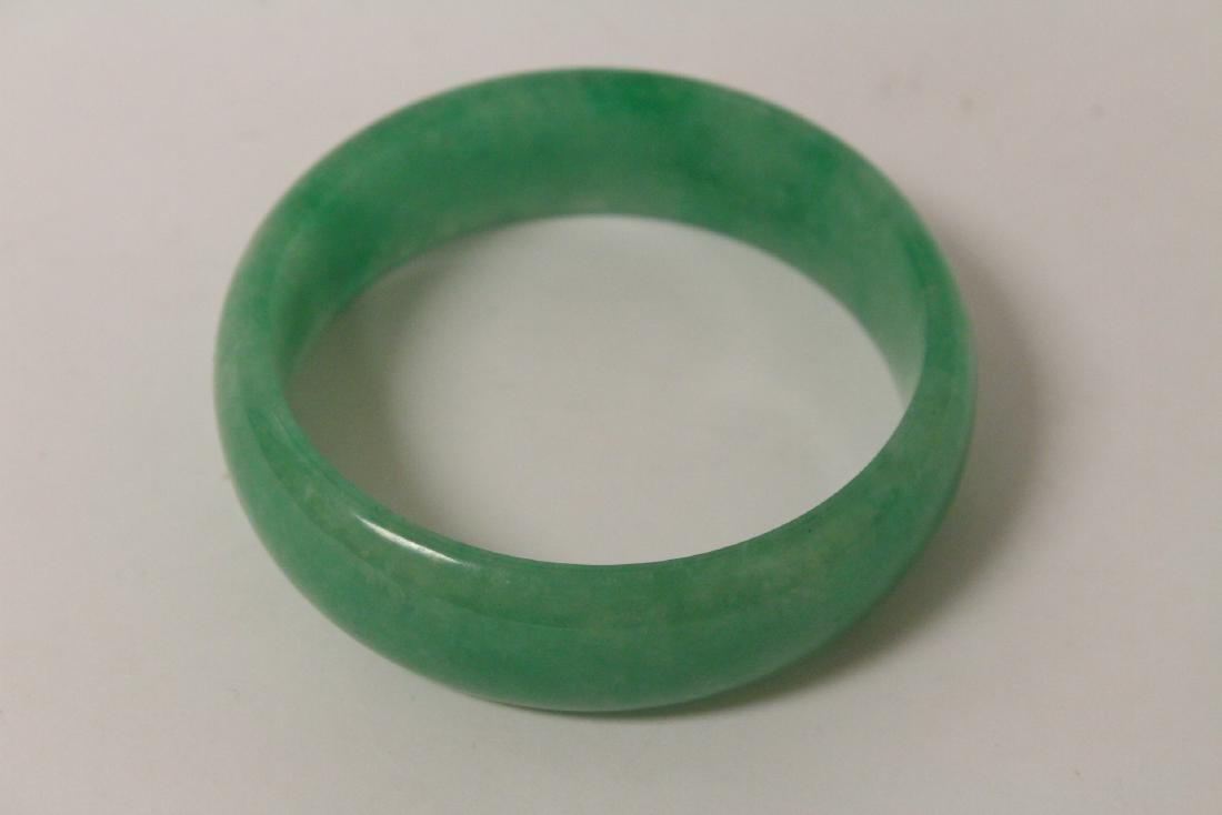 Jadeite like stone carved bangle bracelet - 5