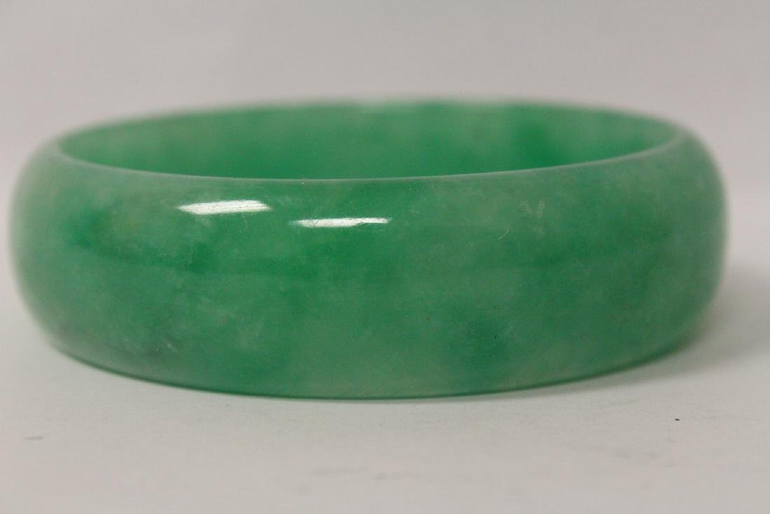 Jadeite like stone carved bangle bracelet - 6
