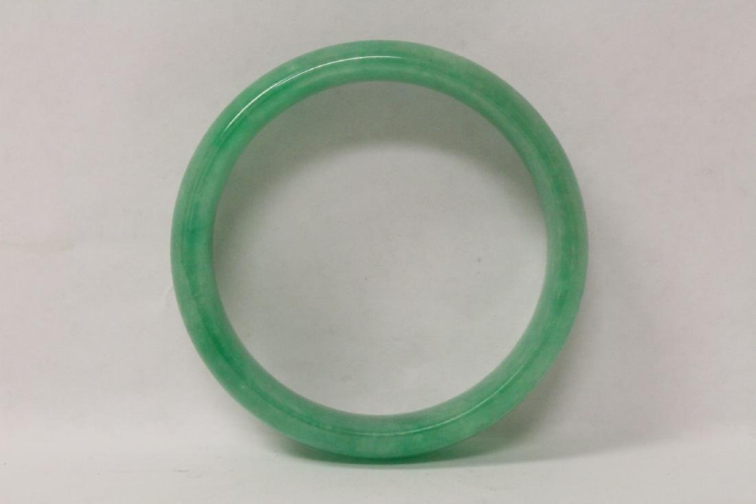 Jadeite like stone carved bangle bracelet - 8