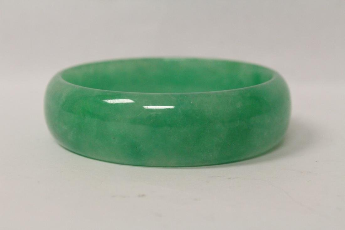 Jadeite like stone carved bangle bracelet - 9