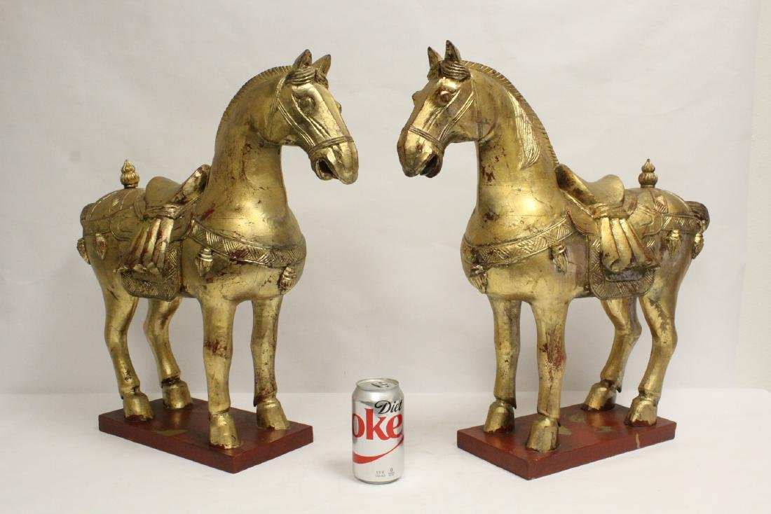 Pair Chinese large gilt wood horses