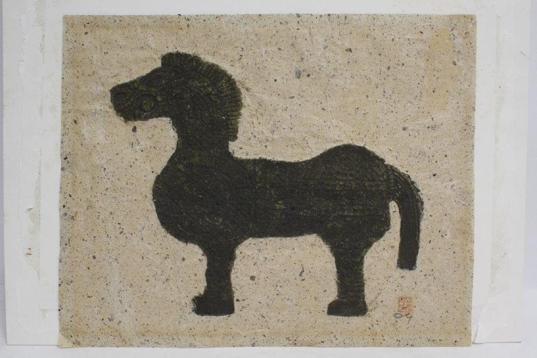 "Chinese ink on embossed paper painting ""horse"""