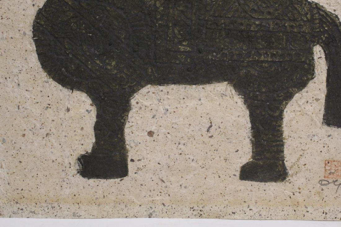 """Chinese ink on embossed paper painting """"horse"""" - 6"""
