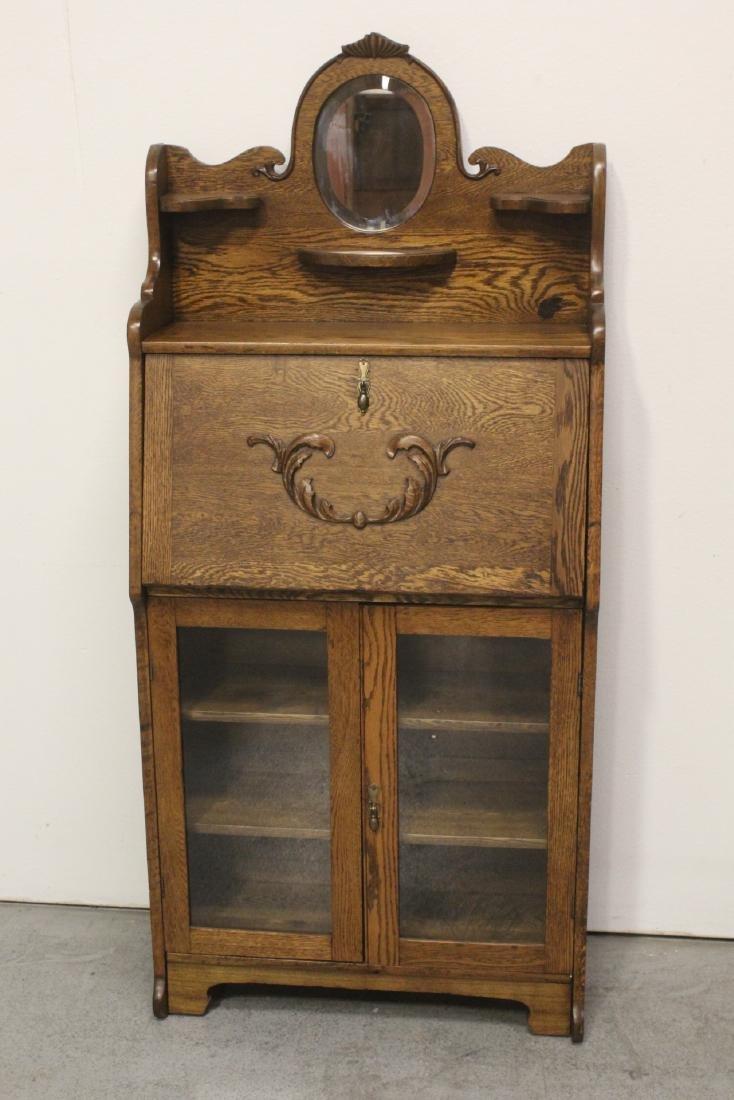 Victorian tiger oak desk with beveled mirror