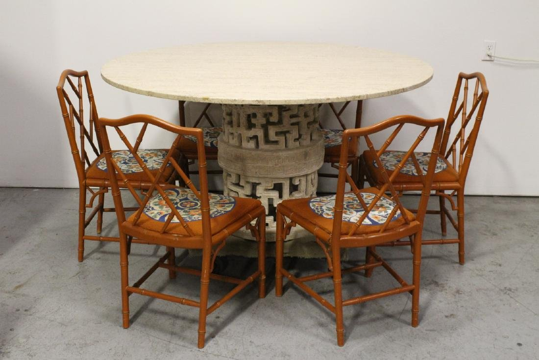 round marble like table with 6 bamboo chairs