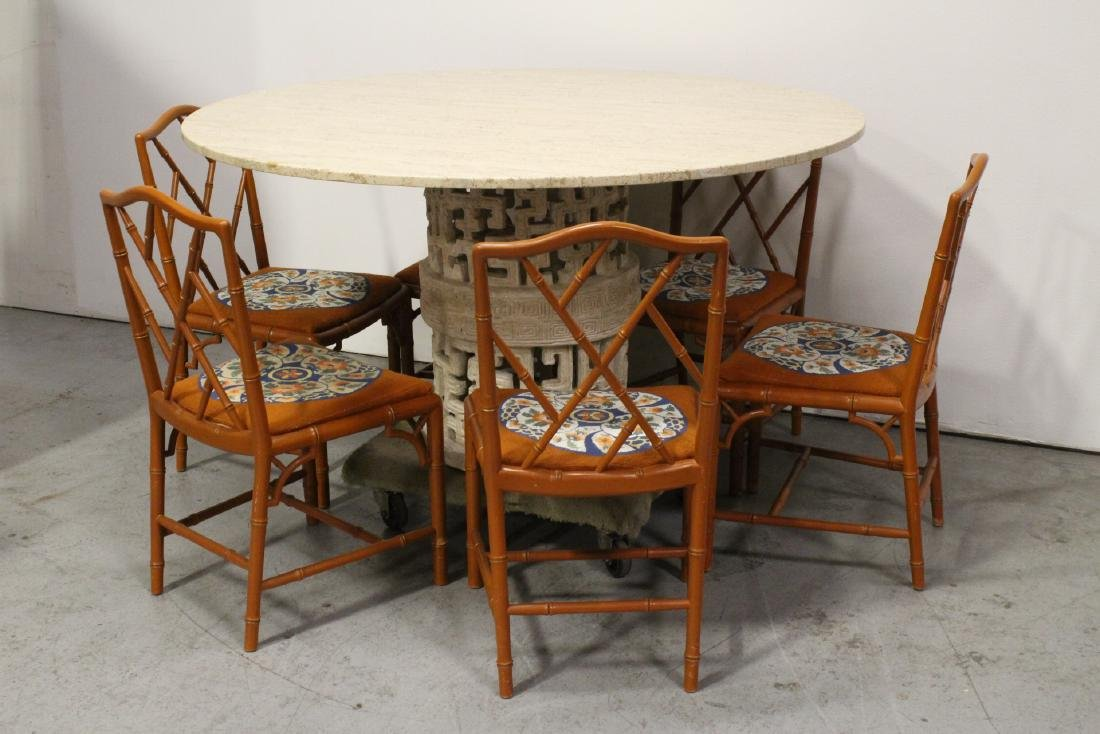 round marble like table with 6 bamboo chairs - 2