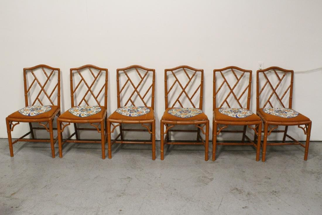 round marble like table with 6 bamboo chairs - 3