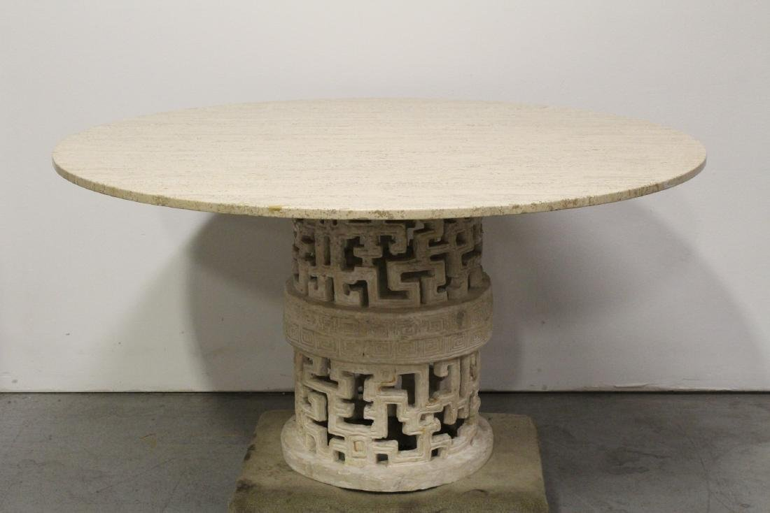 round marble like table with 6 bamboo chairs - 8