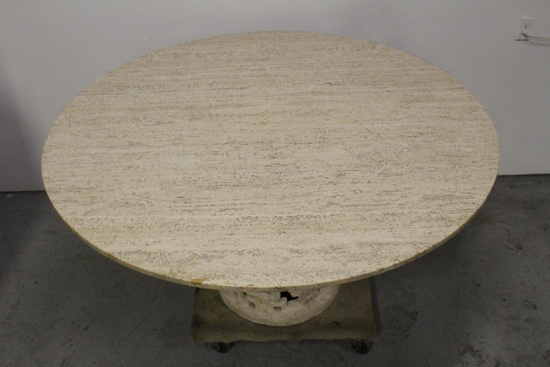 round marble like table with 6 bamboo chairs - 9