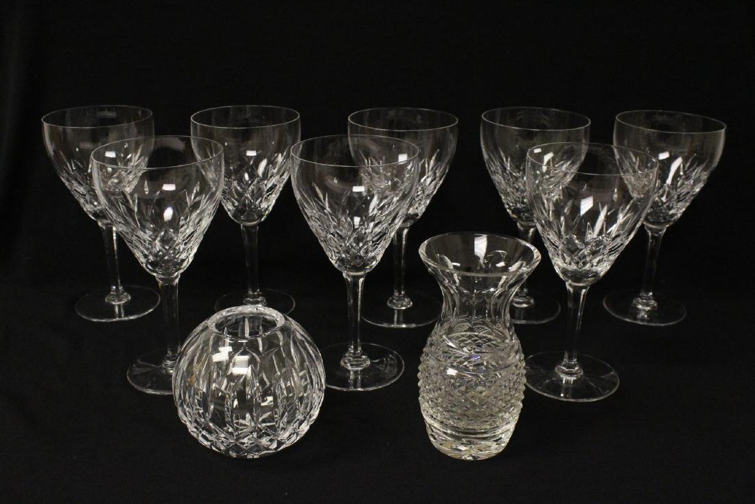 8 Val St. Lambert goblets, and 2 Waterford crystal jars