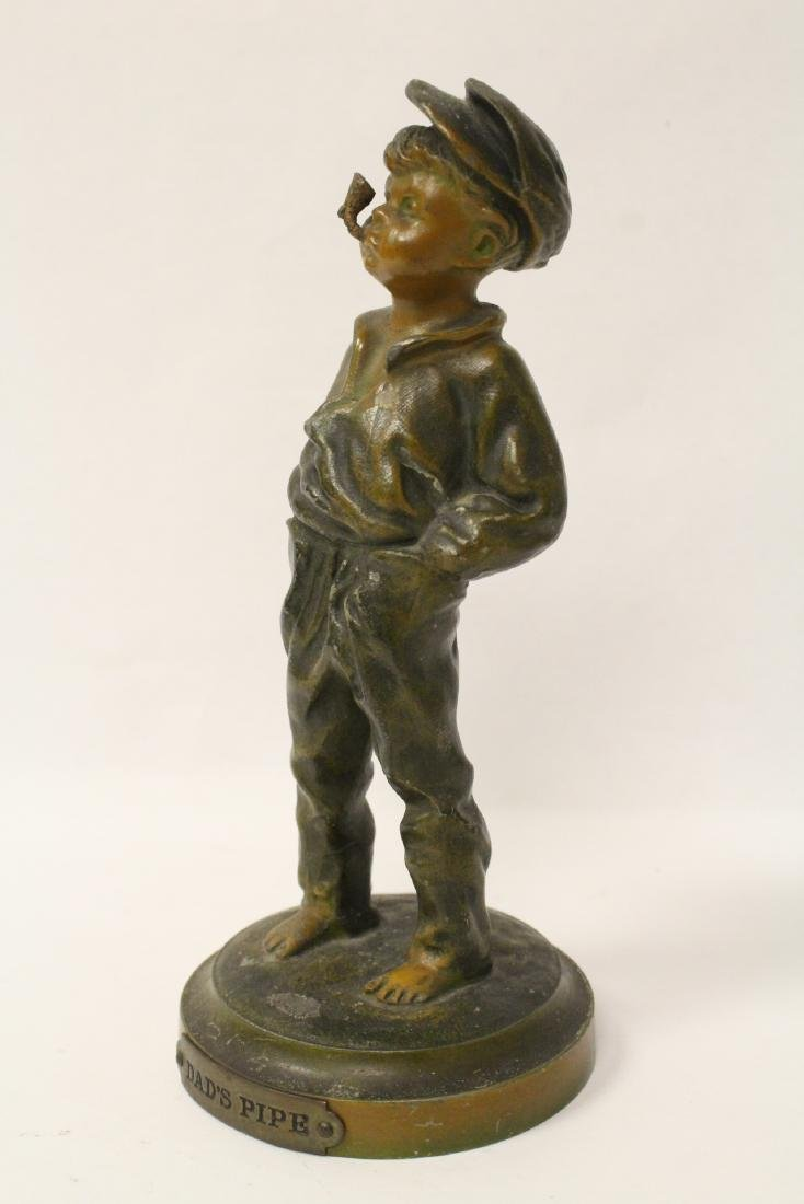 """Amusing antique bronze sculpture """"dad's pipe"""" - 2"""