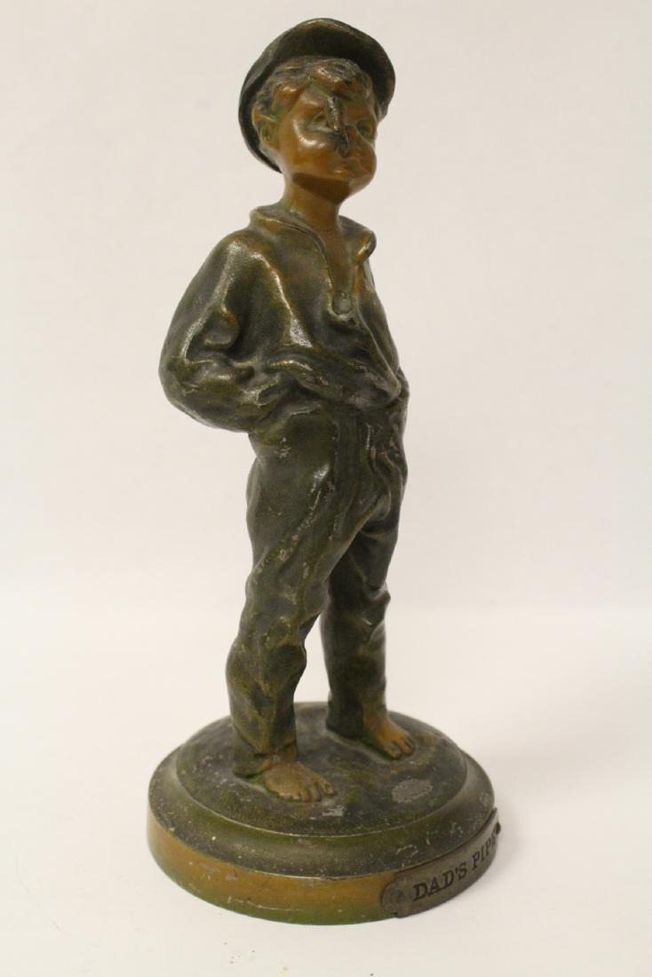 """Amusing antique bronze sculpture """"dad's pipe"""" - 4"""