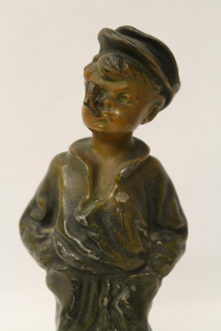 """Amusing antique bronze sculpture """"dad's pipe"""" - 6"""
