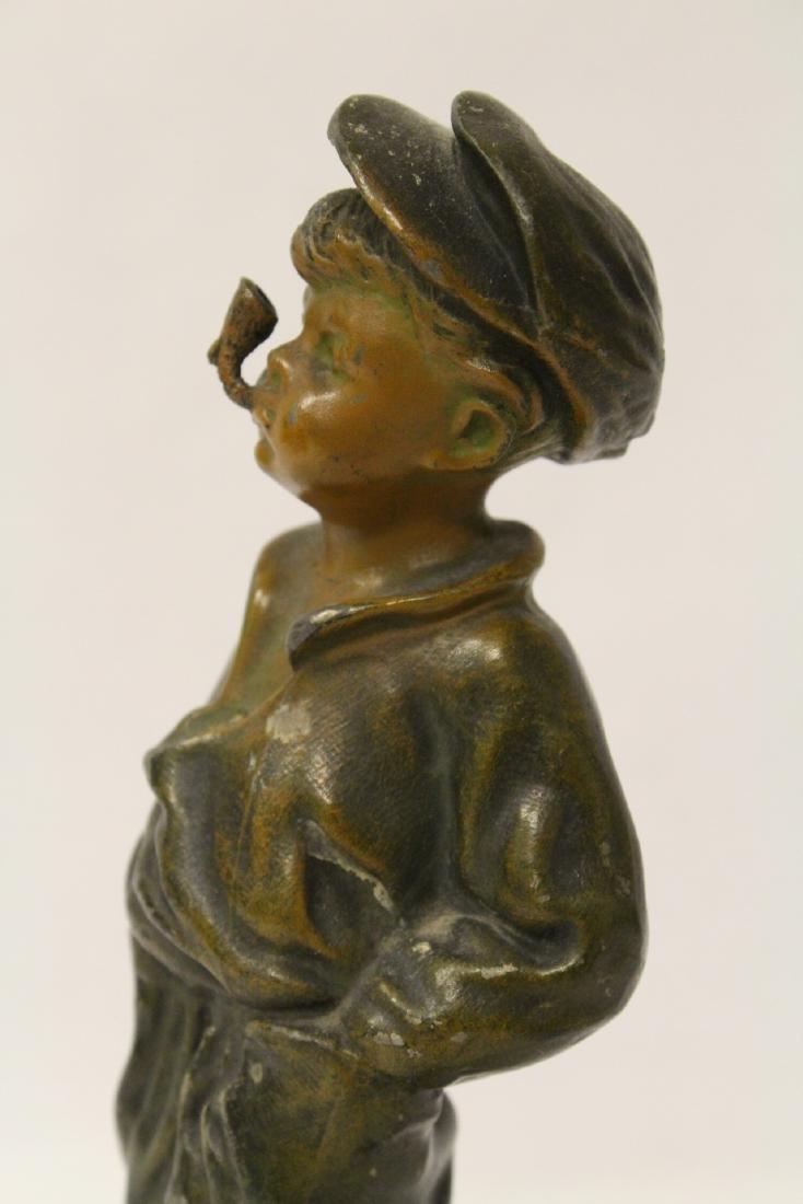 """Amusing antique bronze sculpture """"dad's pipe"""" - 9"""