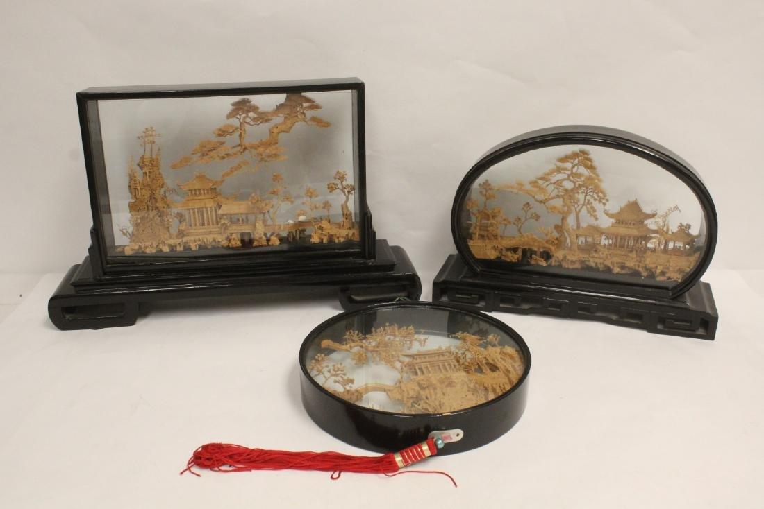 3 Chinese framed cork arts