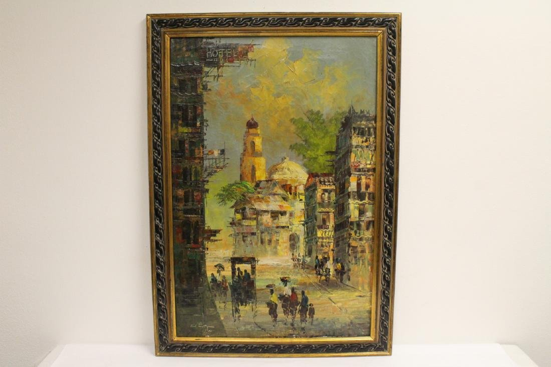 "Framed oil on canvas ""city scene"""