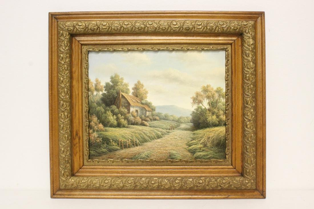 "Oil on canvas ""rural scene"" with antique frame"