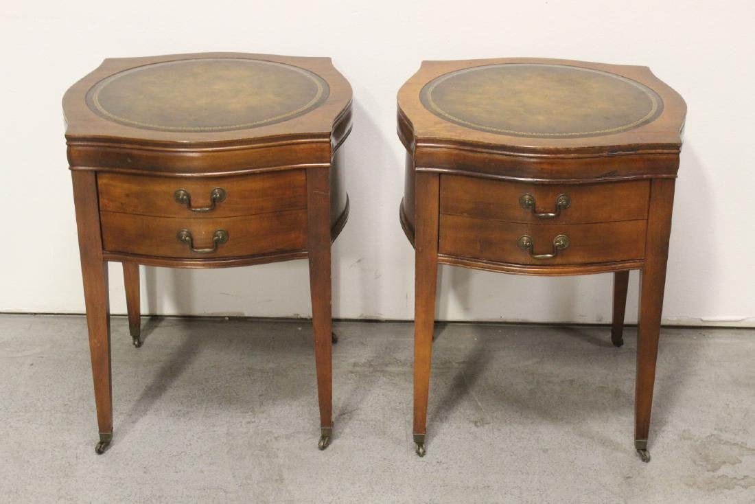 Pair leather top mahogany lamp tables