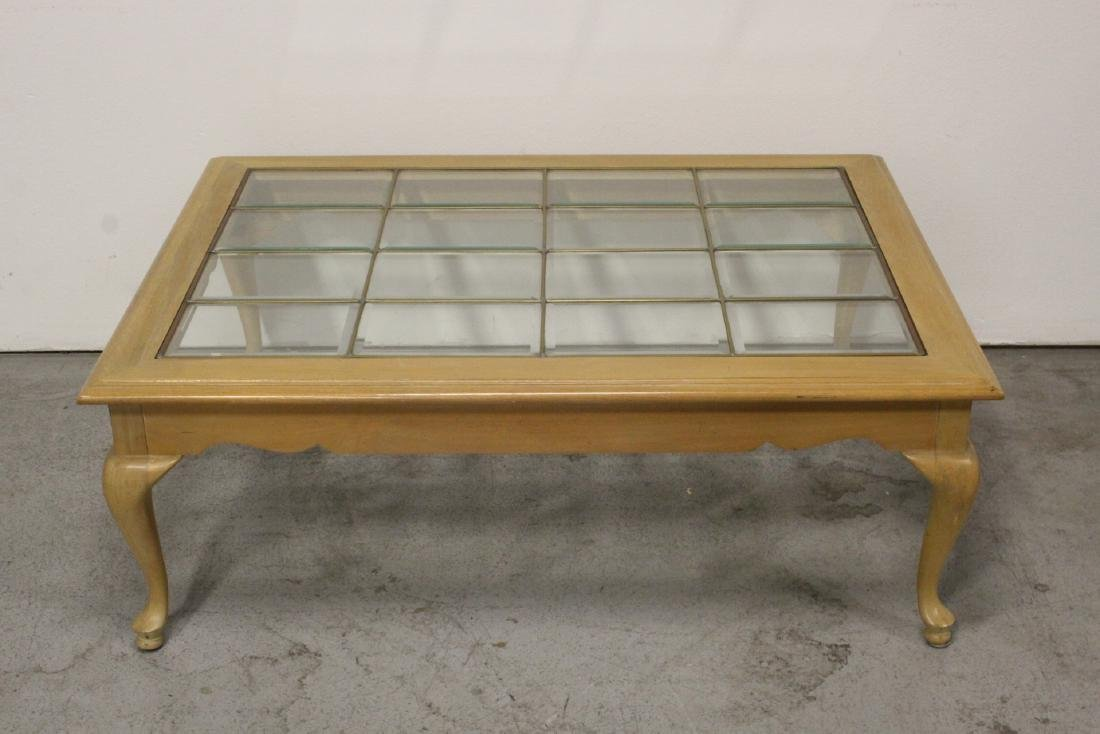 Coffee table w/ multiple beveled glass panels