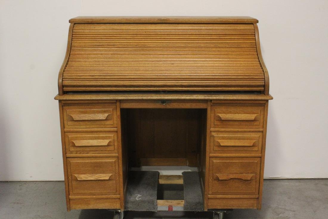 19th century oak roll top desk