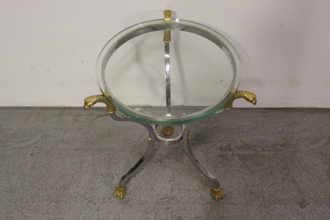 A beautiful chrome and gilt steel round side table - 2