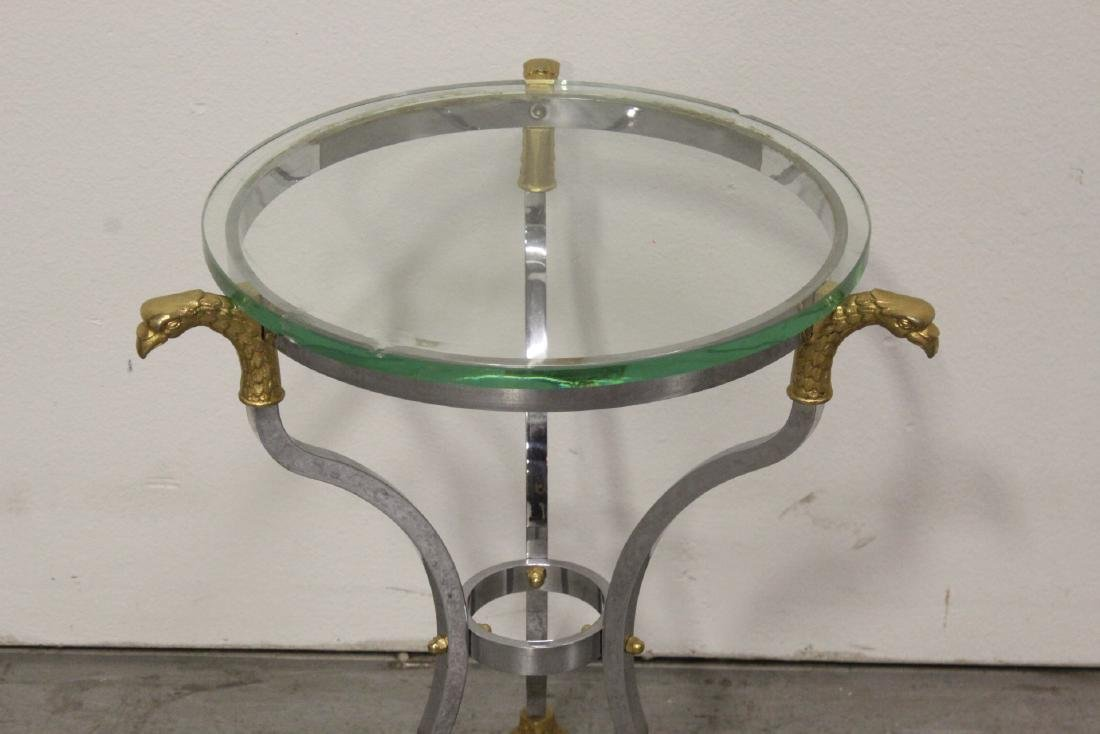 A beautiful chrome and gilt steel round side table - 3