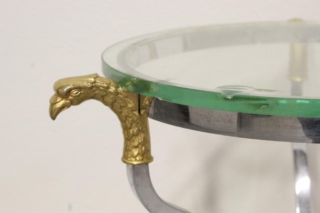 A beautiful chrome and gilt steel round side table - 5