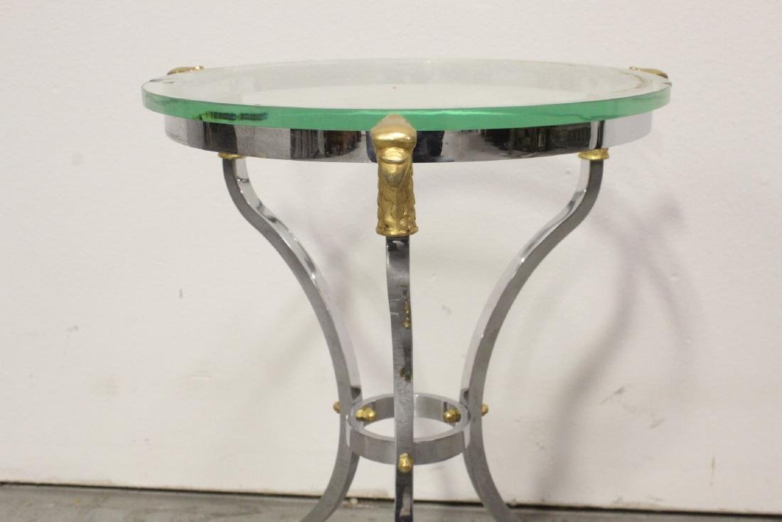 A beautiful chrome and gilt steel round side table - 9