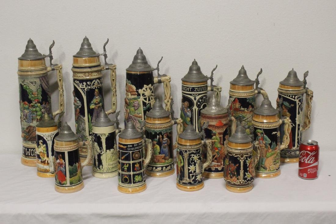 15 vintage Germany beer steins