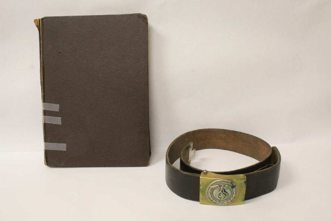 WWII Germany leather belt and a German book