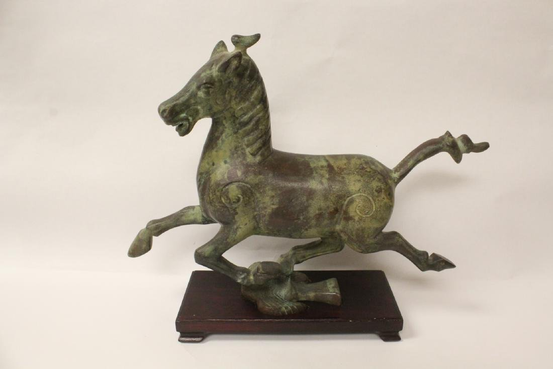 Extremely heavy Chinese bronze horse on stand
