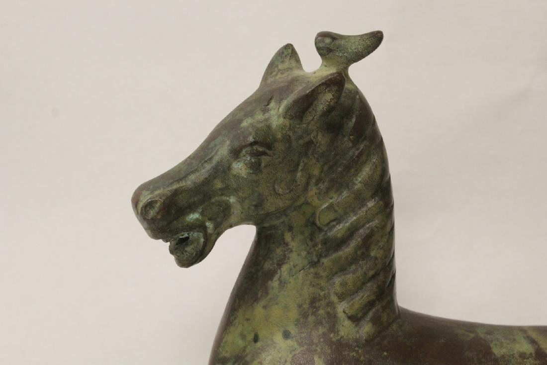 Extremely heavy Chinese bronze horse on stand - 3