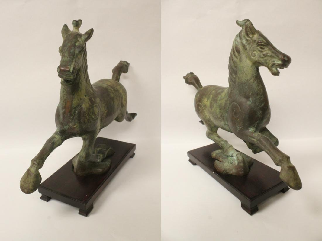 Extremely heavy Chinese bronze horse on stand - 5