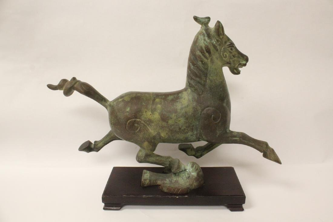 Extremely heavy Chinese bronze horse on stand - 6
