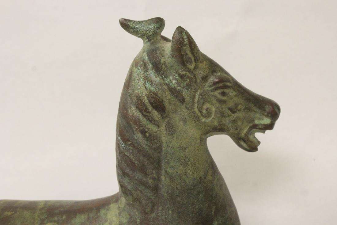 Extremely heavy Chinese bronze horse on stand - 7