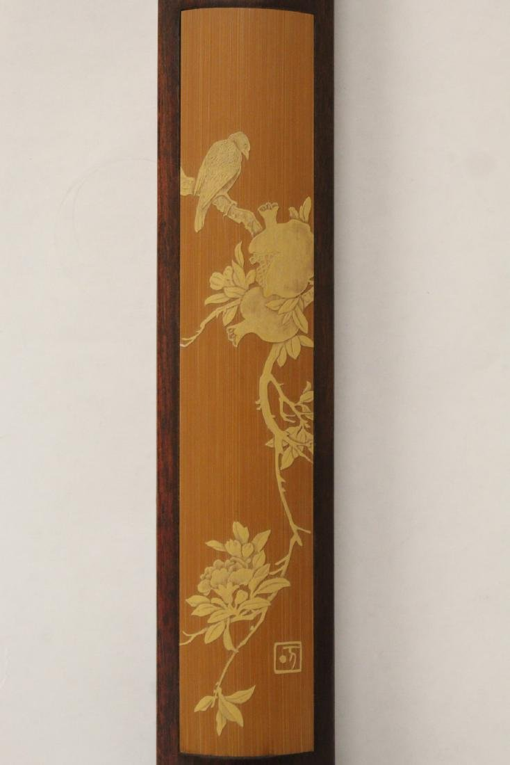 Pair Chinese rosewood scroll weights - 3
