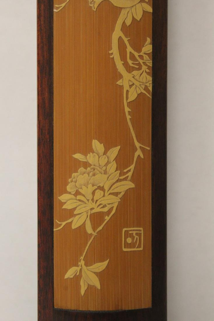 Pair Chinese rosewood scroll weights - 4
